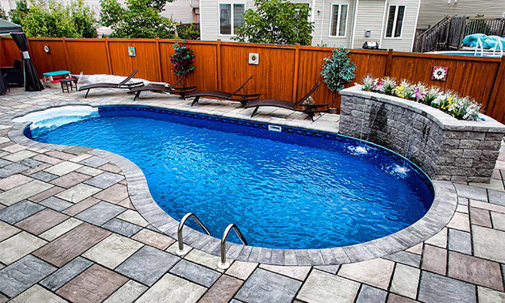 Ewing pools straight wall kidney for Best type of inground pool